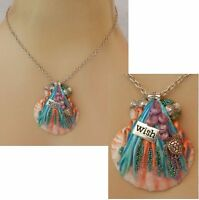Mermaid Shell Pendant Necklace Jewelry Handmade Fantasy Hand Sculpted NEW Chain