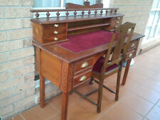 VINTAGE BEAUTIFUL CARVED MAHOGANY WOODEN DESK AND CHAIR SET RARE
