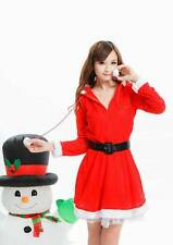 Ladies Women Christmas Xmas Sexy Hot Red Santa Claus Costume Outfit Dress + Belt