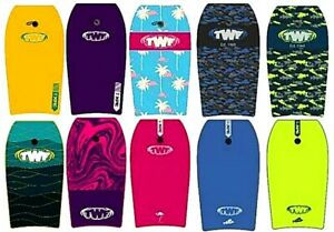 "TWF XPE SLICK 33"" 37"" 42"" ADULT KIDS BODYBOARDS SURF BEACH BOOGIE BOARD LEASH IN"