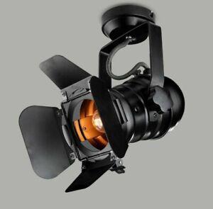 Vintage Spot Light Ceiling Track Lamp Black For Barn Door E27 Rail Light Indoor