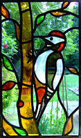 Framed Print - Stained Glass Window Woodpecker (Abstract Picture Animal Bird)