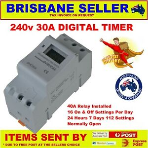 240v TIMER RELAY 30A DIN LCD PUMPS SOLAR HOT WATER ELECTRONIC 24/7