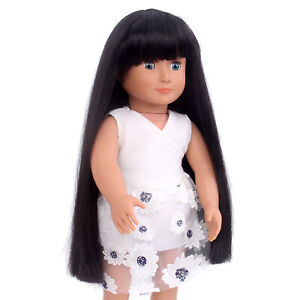 Long Black Straight Doll Wig for 18inch Girl Dolls Synthetic Hair With Bang Gift