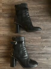 Black RAG & BONE ROMI Studded High Ankle Boots Size 39.5 Leather RARE BLOCK HEEL
