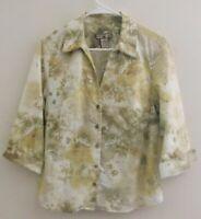 CARIBBEAN JOE Women's Blouse Size M 3/4 Length Cuff Sleeves Floral Cotton Blend