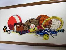 Sports Equipment Vtg 1976 Crewel Embroidery  21 x 11 Wall Decor Wood Frame #2601