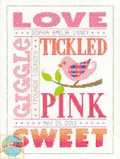 Cross Stitch Kit ~ Dimensions Pastel About Girls Birth Record #70-73991
