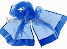 Royal Blue Scarf Shawl Wrap Ciffon Silk Satin Border Hand Dyed Maya Matazaro