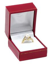 6.5mm Freshwater Pearl and Diamond Solitaire Yellow Gold 10K Ring $850.00 SZ9