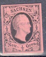 Saxony, Sc#3, VF NG, 1/2 Ngr Black Proof on Rose tinted card, Mi#3P2, *RARE*