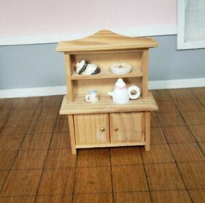 Miniature Dollhouse Furniture Kitchen Hutch Cabinet Wood 1:16