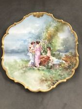 L R L Limoges France Hand Painted Scenic Portrait Charger Plate Signed