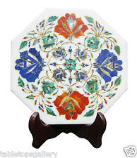 """9""""x9"""" White Marble Tile Serving Plate Mosaic Marquetry Art Inlay Home Deco H1932"""