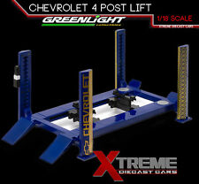 GREENLIGHT 12918 1:18 SCALE FOUR POST LIFT CHEVY CHEVROLET RAISES & LOWERS