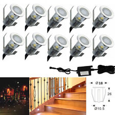 10XCool White LED Deck Step Lights Lamp 18mm 12V 0.4W Outdoor Yard Path Recessed