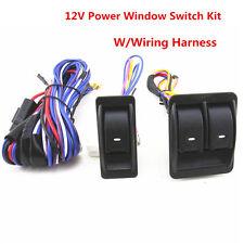 New Auto Car 12V Power Door Window Motors Glass Lift Switch w/Wiring Harness Kit