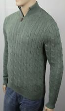 POLO Ralph Lauren Green Cable Knit 1/2 Half Zip Sweater Green Pony NWT