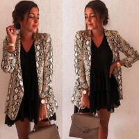 Womens Snake Print Long Sleeve Suit Coat Blazer Biker Jacket Outwear Tops BF