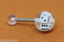 1X Tongue Bars Rings Barbell Body Piercing Jewellery 10mm Dice Ball