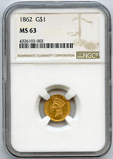 1862 US Gold $1 Type 3 NGC MS 63 Nice Rose Gold Color