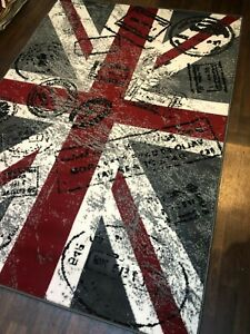 Retro Rugs Union jack Stamped 160x230cm app 8x5ft Grey/Red/off White Colours