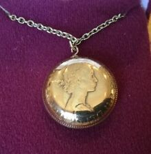 Half Penny Coin Pendant on a 46 Cm Sterling Silver Yellow Gold Plated Chain 1965