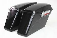 vivid black Hard Saddlebags factory For Harley Sportster Dyna Touring Glide lock