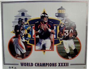 Denver Broncos John Elway Terrell Davis World Champions XXXII 19x24 Poster Litho