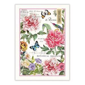 Michel Design Works Cotton Kitchen Tea Towel Peony Floral Butterflies - NEW