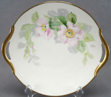 Lanternier Limoges Hand Painted Signed Geline Pink Wild Roses Cake Plate C. 1890