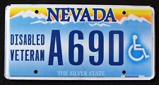 """NEVADA """" DISABLED VETERAN - SILVER STATE """" NV Military Specialty License Plate"""