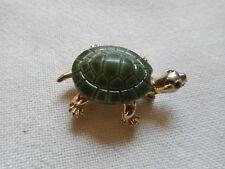 Vintage crafted glass turtle brooch, rhinestone eyes