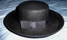 Street Smart By Betmar 100% Wool Hat Black Women's Roll Up Brim Grosgrain Ribbon