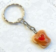 Peanut Butter and Strawberry Jelly Heart Keychain, Cute :D