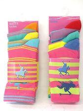 Ladies 3 Pack Cotton Rich HORSE DESIGN Stripey Ankle Socks SK257 Size 4-7