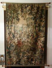 96 x 155 cm Gobelin Wandteppich Wandbehang gewebt mittelalterliche Jagdszene