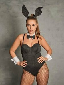 Ann Summers Tuxedo Sparkle Silver Bunny Playgirl Outfit Size Extra Large (20-22)