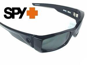 Spy Hielo Shiny Black Custom Sunglasses with HD Grey Green Lenses NEW