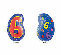 """20""""  Number 6 SIX Multi colored 6th 60th 16th Birthday Party Balloon Decoration"""