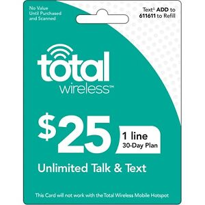 TOTAL WIRELESS  Prepaid $25 Refill Top-Up Prepaid Refill ,PIN / RECHARGE