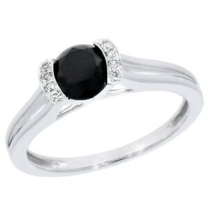Goldenstar 1.08Ct. Black and White Diamond Solitaire Ring