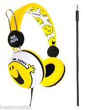 Mr Men & Little Miss Headphones Mr Happy Boys Girls Tangle Free Cable Great Gift