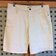 "FAT FACE Ladies White Denim Bermuda Shorts - Size 14 - Waist 36""  Inside Leg 11"""
