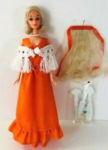 Vintage 1976 Mattel Deluxe Quick Curl PJ Barbie #9218 Orange Dress