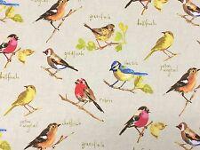 Prestigious Textiles Garden Birds Linen Fabric Remnant 100% Cotton 50cm x 40cm
