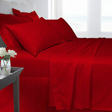 DOUBLE BED 250 THREAD COUNT DUVET COVER RED 100% COMBED COTTON STRIPE SATEEN