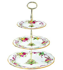Royal Albert Old Country Roses 3-Tier Cake Cookie Stand Christmas Tree New