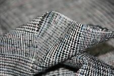 "2 & 1/2Y Silk Suiting Fabric-60"" W-med Weight-Black/Wht Plaid-30% Silk 70% Rayon"