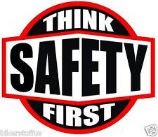 THINK SAFETY FIRST HARD HAT STICKER BLACK ON WHITE AND RED HARD HAT STICKER